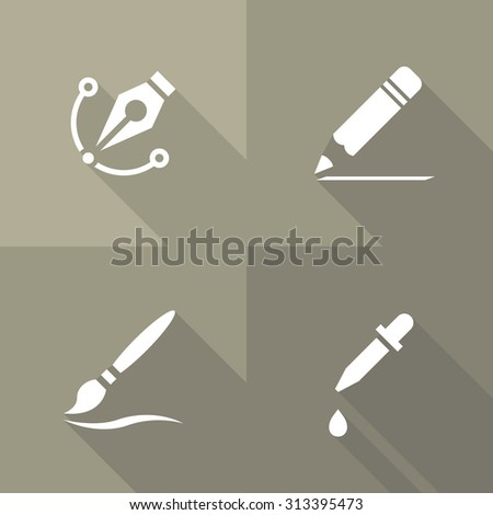 Vector Flat Icons - Drawing - stock vector