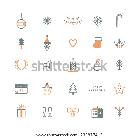 Vector flat icons. Merry Christmas and Happy New Year. Nice details and easily identifiable. Useful for holidays infographics. - stock vector
