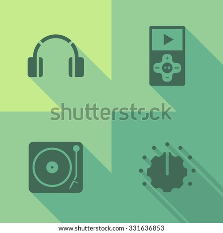 Vector Flat Icons - Music - stock vector