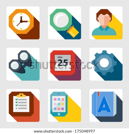 vector flat icons set 10eps - stock vector