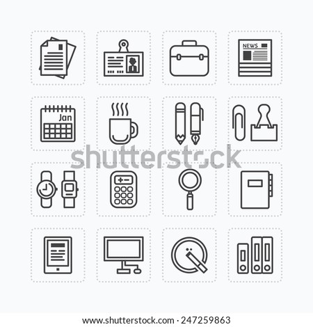 Vector flat icons set of business office tools outline concept. - stock vector