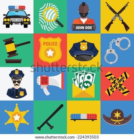 Vector flat icons set of police symbols and police equipment, elements. Flat design style collection. Police pictogram, illustrations, graphic design objects. - stock vector