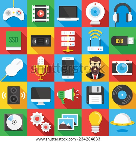 Vector flat icons set with long shadow for web and mobile apps.Creative colorful modern design illustrations, elements, symbols, signs, concepts of technology, entertainment, multimedia icons. - stock vector