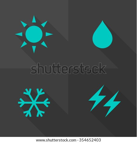 Vector Flat Icons - Weather  - stock vector