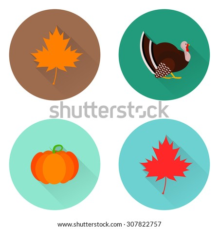 Vector flat icons with long shadow. Elements for design. - stock vector