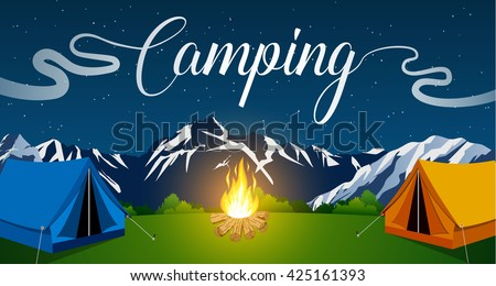 Vector flat illustration camping. Nature background with grass, forest, mountains and hills. Outdoor activities. Tent and fire camp. vector illustration in flat design. night camp. - stock vector