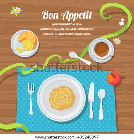 Vector flat illustration catering party with people hands and a table of dishes from the menu, top view - stock vector