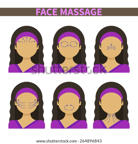 Vector flat illustration: face massage instruction demonstrated on young beautiful woman in purple clothes - stock vector