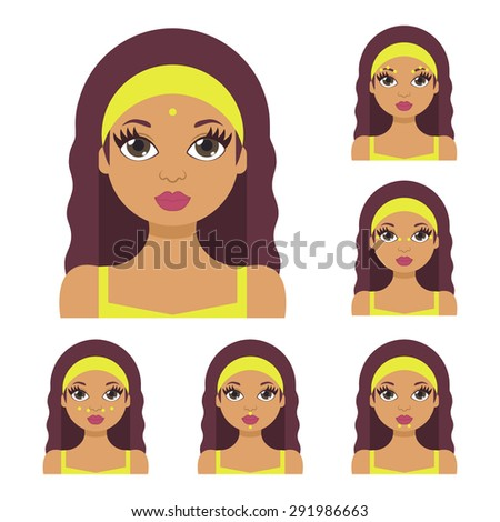 Vector flat illustration: facial acupressure instruction demonstrated on young beautiful Latina woman in pistachio clothes - stock vector