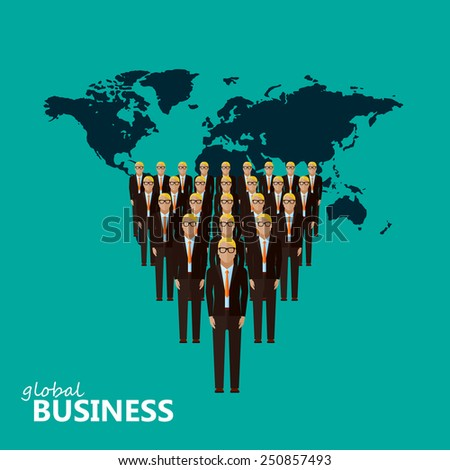 vector flat illustration of a leader and a team. a group of men (business men or politicians) wearing suits and ties. leadership or global business concept. transnational corporate structure  - stock vector