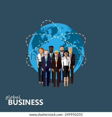 vector flat illustration of business or politics community. a group of men and women (business community or politicians). summit or conference family image. global business concept  - stock vector