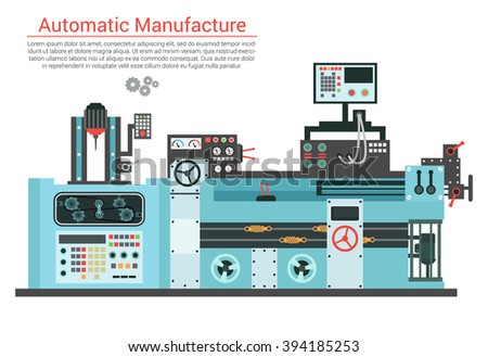 Vector flat illustration of complex engineering machine with pump, pipe, cable, cog wheel, transformation, rotating details. Industrial mechanical revolution of manufacturing equipment - stock vector