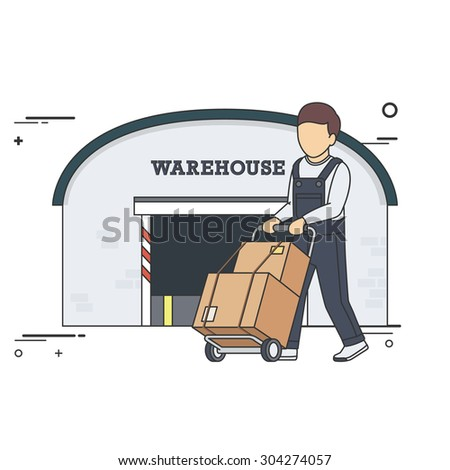 Vector Flat Illustration of Delivery Man with Boxes on Two Wheel Cart in front of Warehouse. - stock vector