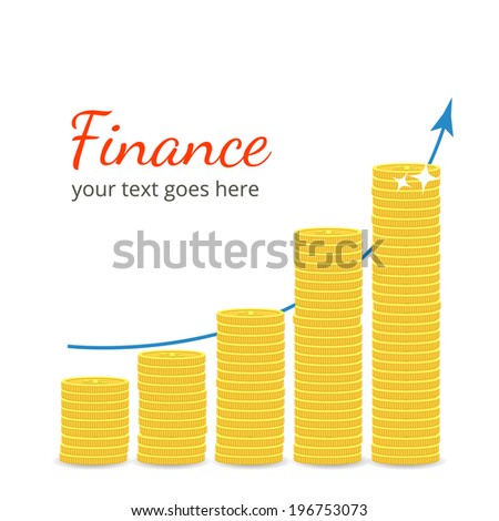 Vector flat illustration of golden coin. Financial infographic. - stock vector