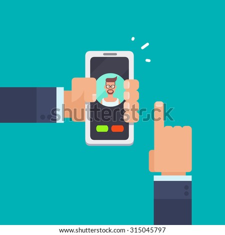 Vector flat illustration of hands holding a smartphone, calling a friend. Infographic motion design template. - stock vector