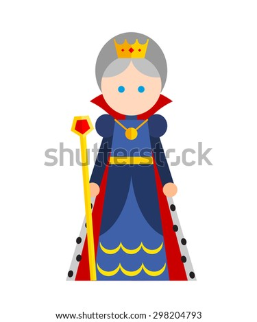 Vector flat illustration of king on white background. Blue, red, yellow colors. - stock vector