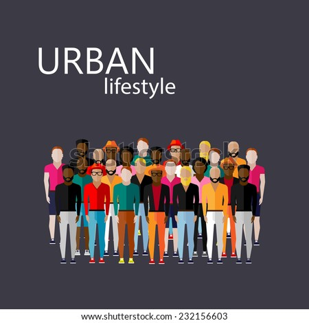 vector flat  illustration of male community with a large group of guys and men. urban lifestyle concept - stock vector