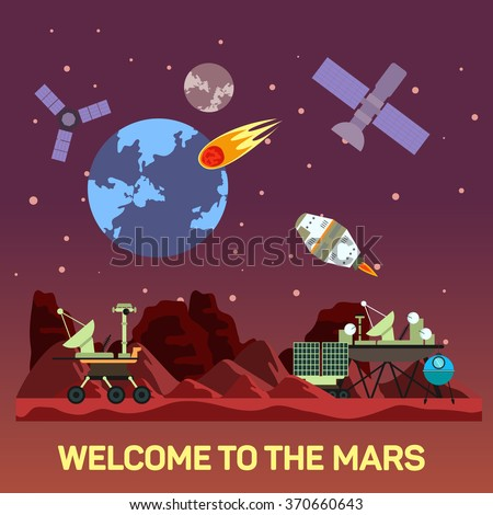 Vector flat illustration of Mars colony with comets, meteors, craters, satellites, bases, rover, shuttles in space. Curiosity program, rover with turret. Concept of human future and NASA colonization. - stock vector