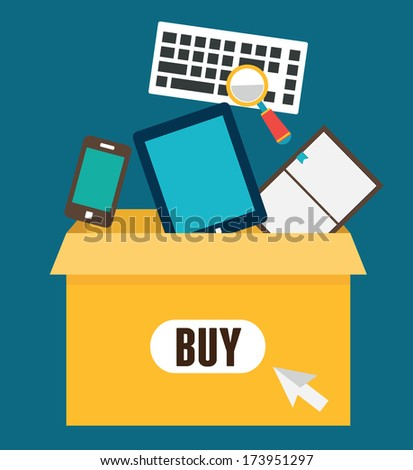 Vector flat illustration of online shopping. Add to box, order and payment - vector illustration - stock vector