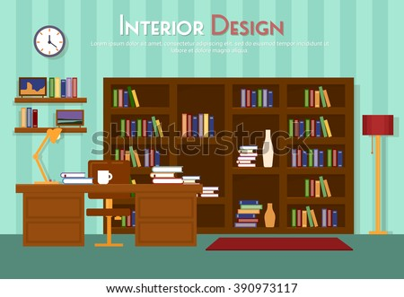 Vector flat illustration of room, lounge with bookshelf, table with lamp, cup, armchair on the floor with carpet (rug). Books with clock, in indoor cabinet in home, library, apartment - stock vector