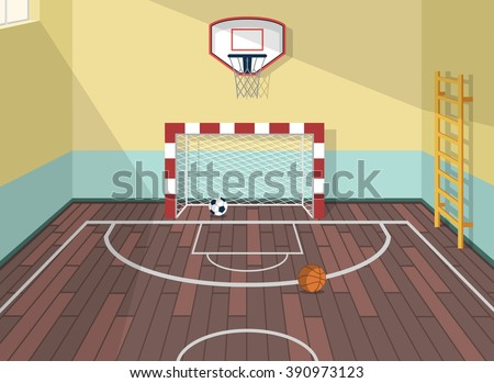 Vector flat illustration of sport room in institute, college, university, school. Basketball, football and soccer balls. with ladder for health care. Gate with net. Window with sunshine beams - stock vector