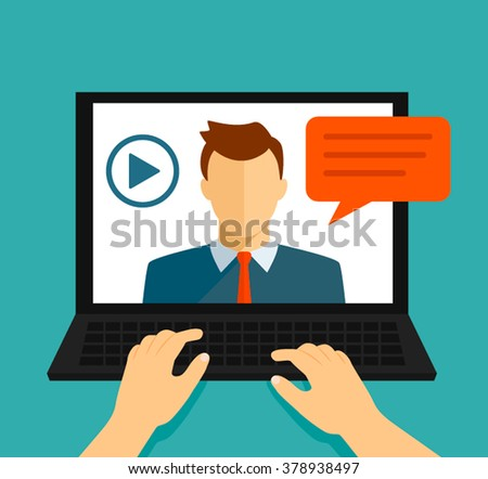 Vector flat illustration of webinar, online conference, lectures and training in internet. - stock vector