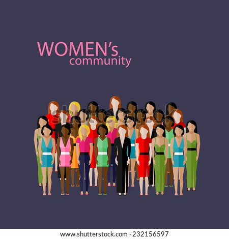 vector flat  illustration of women community with a large group of girls and women. feminist concept - stock vector