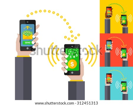 Vector Flat illustration. People sending and receiving money with their mobile phones. Hands holding smart phones with payment apps. White, red, blue, yellow background - stock vector