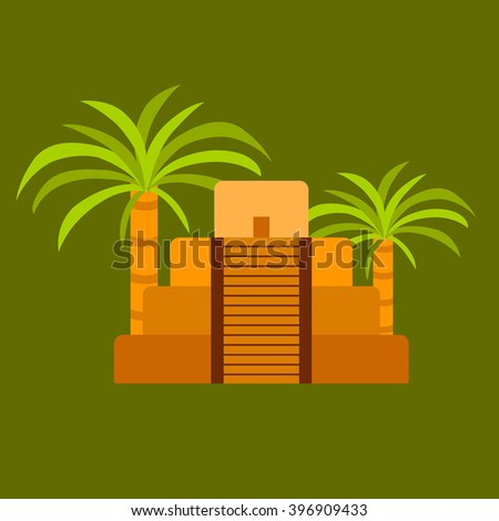 Vector flat illustration with aztec pyramid and palms. Old aztec, mayan civilization concept. - stock vector