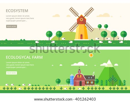 Vector flat illustrations - Eco style life. Mill in the field. Environmental farm breeding sheep. - stock vector
