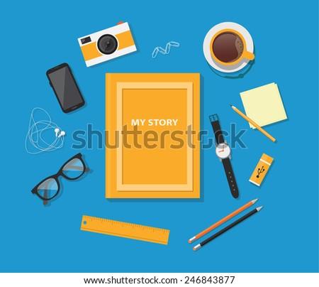 Vector flat image of workstation. Flat style design - vector illustration - stock vector