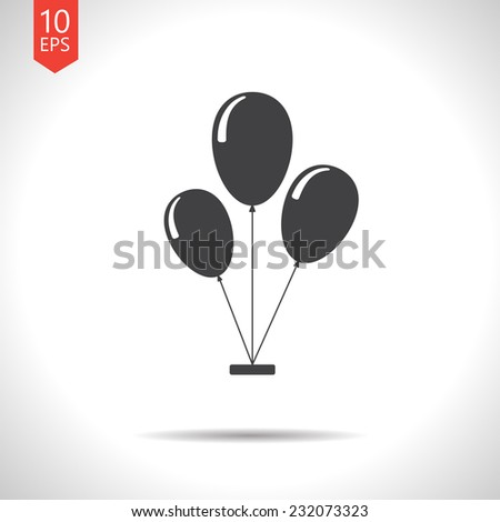 Vector flat isolate  three balloons flat icon. Eps10 - stock vector