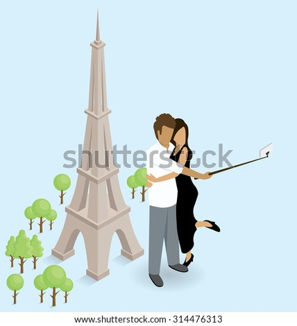 Vector flat isometric couple making selfie near the Eiffel Tower in Paris - stock vector