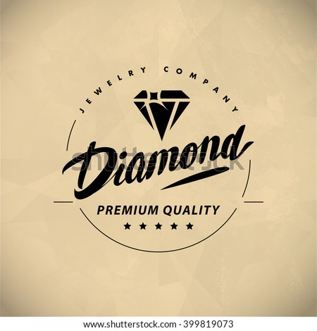 Vector flat jewelry logo isolated on white background. Diamond shop, crystal store brand mark. Accessory store jewel business insignia. Hand written font. Advertisement. Poster placard, card, leaflet. - stock vector