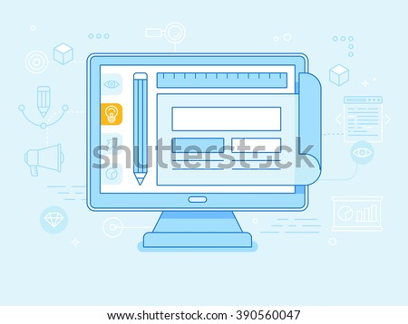 Vector flat linear illustration in blue colors - graphic and web design concept - monitor with website layout on the screen - stock vector