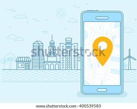 Vector flat linear illustration in blue colors - screen of the mobile phone - gps searching point on the city map and city landscape in the background - stock vector