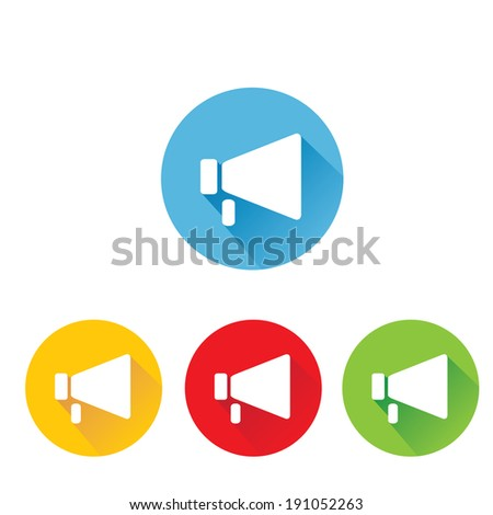 vector  flat megaphone icon set.  vector flat color speaker or sound icon - stock vector