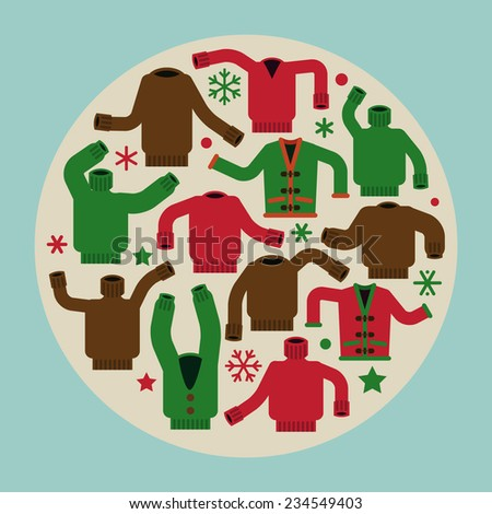 Creative concept design on christmas ugly sweater party holiday xmas