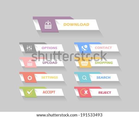 Vector Flat Modern Web Buttons - stock vector