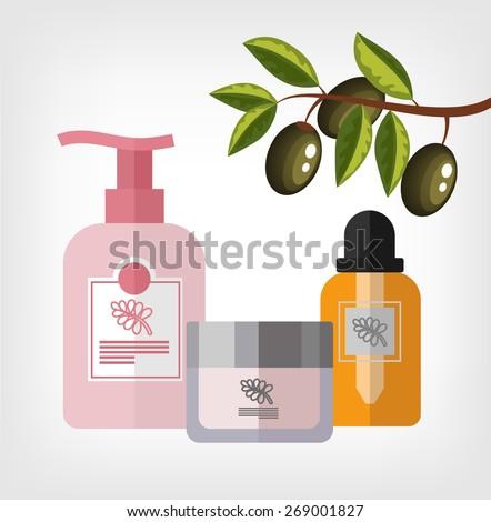 Vector flat olive cosmetics bottle template illustration - stock vector