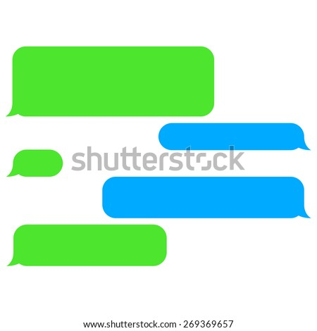 Vector flat phone chat bubbles. Sms messages. Speech bubbles. Short message service bubbles. - stock vector