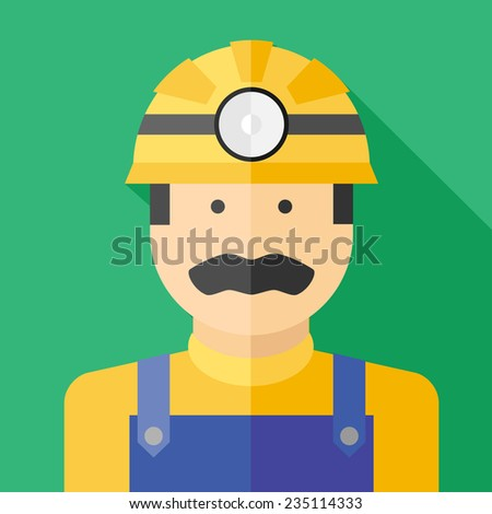 Vector flat profession miner colorful icon. Eps10 - stock vector