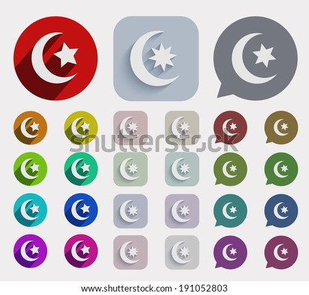 Vector flat ramadan icons set. circle and square variants - stock vector