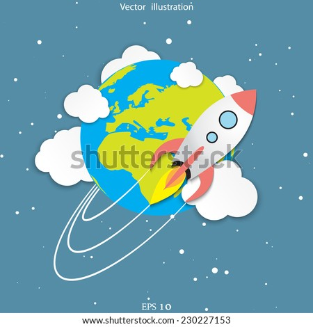 Vector flat rocket around the World illustration. Start up concept. Travel concept. - stock vector