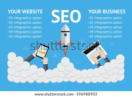 Vector flat SEO banner on blue background - stock vector