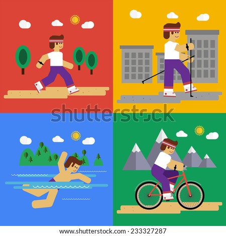 Vector flat set of sport activities for health lifestyle. Running, nordic walking, swimming, bike riding. EPS 10  - stock vector