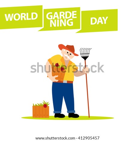 Vector flat simple friendly character isolated on white background. Text message. Profession human icon. Person portrait. Gardener day card. Old man in hat with flowers and rake. Garden worker icon.  - stock vector