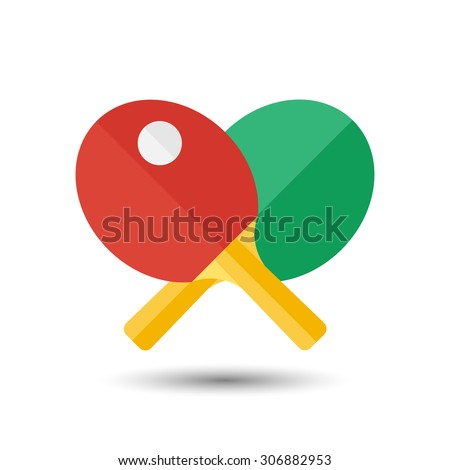Vector flat simple ping-pong icon.  Sport illustration - stock vector