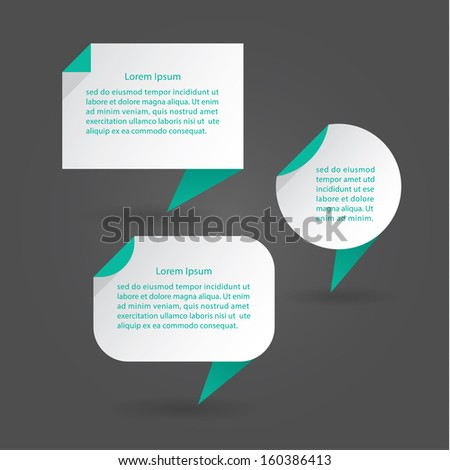 Vector flat speech bubbles. Modern design speech bubbles with drop shadow. Three clean shapes. Minimalistic vector illustration. Elements for posters, presentations or websites. - stock vector