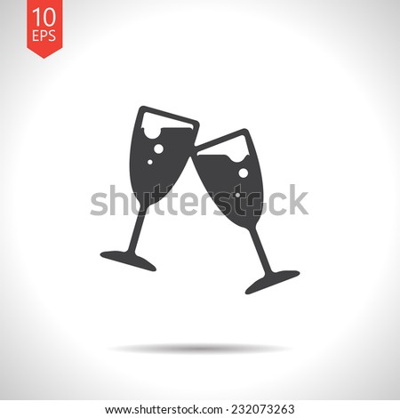 Vector flat stemware glass icon isolated on white. Eps10 - stock vector